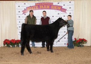 Junior Simmental Reserve Grand Champion Heifer -- CSCX Ebonys Joy 204B, exhibited by Jackson Mattocks, Guys Mills, Crawford Co. on Sunday, Jan. 11, at the 2015 Pennsylvania Farm Show. (L-R): James Campbell, judge Chris Cassady, Jackson Mattocks